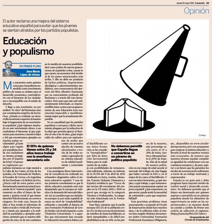 Educación y populismo
